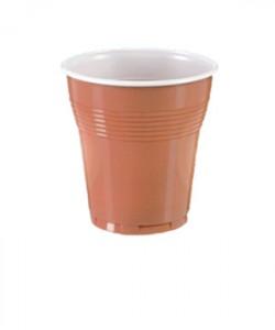 Pahare plastic bicolore manuale 160 ml maro (Set 100 buc.)