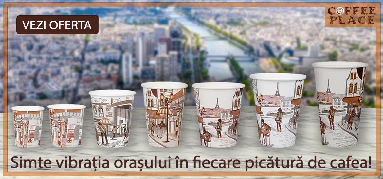 Testeaza noile pahare de carton cu imprimeu City, pentru o cafea de vending cu personalitate