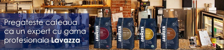 Pregateste un espresso desavarsit cu o cafea din gama profesionala Lavazza: Super Crema, Super Gusto, Crema e Aroma sau Pienaroma